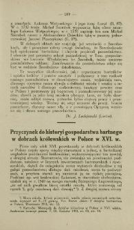 Przyczynek do historyi gospodarstwa bartnego w dobrach królewskich w Polsce w XVI. w.