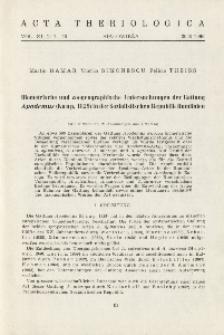 Biometrische und zoogeographische Untersuchungen der Gattung Apodemus (Kaup, 1829) in der Sozialistischen Republik Rumänien