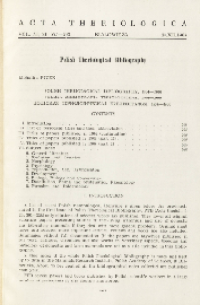 Polish Theriological Bibliography, 1965-1966
