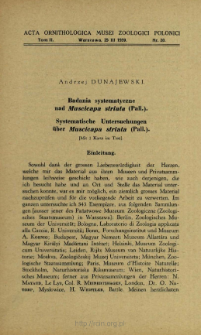Badania systematyczne nad Muscicapa striata (Pall.) = Systematische Untersuchungen über Muscicapa striata (Pall.)