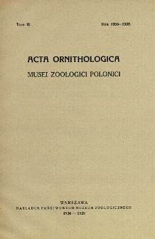 Acta Ornithologica Musei Zoologici Polonici ; t. 2 - Spis treści