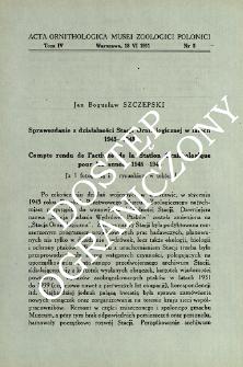 Sprawozdanie z działalności Stacji Ornitologicznej w latach 1945-1948