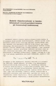 Badanie niejednorodności w bezdyslokacyjnych monokryształach krzemu po transmutacji neutronowej