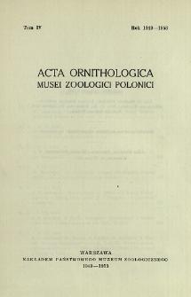 Acta Ornithologica Musei Zoologici Polonici ; t. 4 - Spis treści