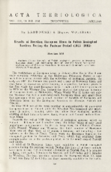 Bisoniana XVI. Results of breeding European bison in Polish zoological gardens during the postwar period (1945-1965)