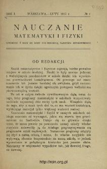 Nauczanie Matematyki i Fizyki R. 1 (1917) nr1