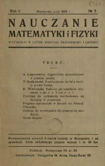 Nauczanie Matematyki i Fizyki R. 2 (1918) nr5