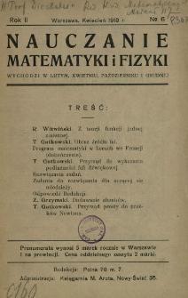 Nauczanie Matematyki i Fizyki R. 2 (1918) nr6
