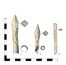 1-2 arrowheads with sleeves, 3 Nail, headless, fragment