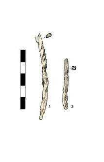 1 drill (?), fragment, 2 nail, fragment
