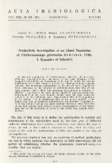 Productivity investigation of an island population of Clethrionomys glareolus (Schreber, 1780). I. Dynamics of cohorts