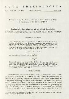 Productivity investigation of an island population of Clethrionomys glareolus (Schreber, 1780). II. Natality