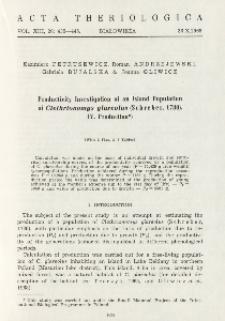 Productivity investigation of an island population of Clethrionomys glareolus (Schreber, 1780). IV. Production