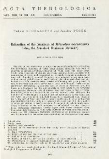 Estimation of the numbers of Microtus oeconomus using the Standard Minimum method