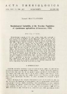 Morphological variability of the Wrocław population of Apodemus sylvaticus (Linnaeus, 1758)