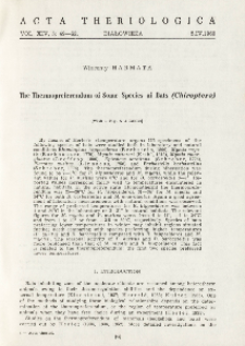 The thermopreferendum of some species of bats (Chiroptera)