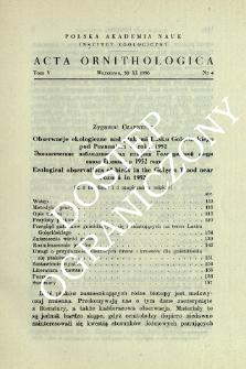 Obserwacje ekologiczne nad ptakami Lasku Golęcińskiego pod Poznaniem w roku 1952