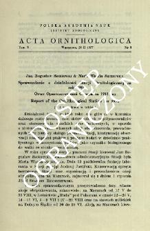 Sprawozdanie z działalności Stacji Ornitologicznej za rok 1951