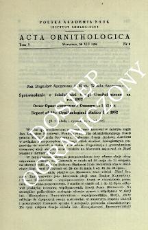 Sprawozdanie z działalności Stacji Ornitologicznej za rok 1952