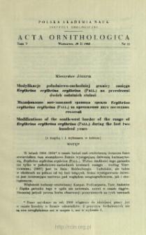 Modyfikacje południowo-zachodniej granicy zasięgu Erythrina erythrina erythrina (Pall.) na przestrzeni dwóch ostatnich stuleci