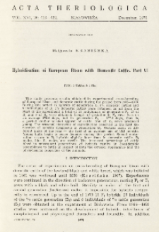 Bisoniana XLI. Hybridisation of European bison with domestic cattle. Part VI