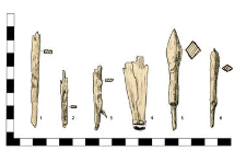 Artifacts: 1.-3. Nail, headlesss, damaged, 4. fitting, 5.-6. arrowheads with tangs