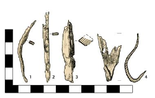 Artifacts: 1.-2. Nails, fragments, 3. Arrowhead with a sleeve, damaged, 4. Fitting, fragment