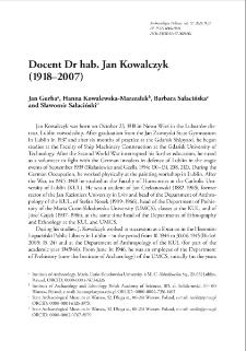 Docent Dr hab. Jan Kowalczyk (1918–2007)