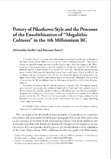 "Pottery of Pikutkowo Style and Processes of Eneolithisation of ""Megalithic Cultures"" in the 4th Millennium BC"