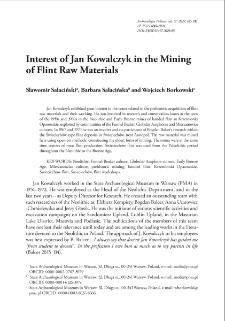Interest of Jan Kowalczyk in the Mining of Flint Raw Materials