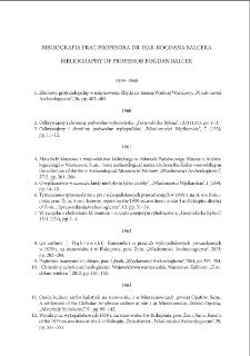 Bibliografia prac Profesora dr. hab. Bogdana Balcera