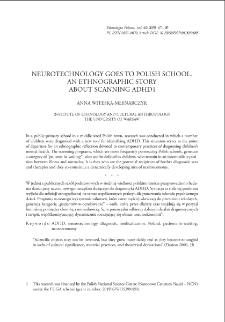 Neurotechnology Goes to Polish School. An Ethnographic Story About Scanning ADHD