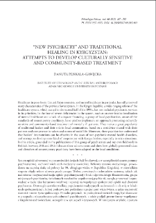 """New Psychiatry"" and Traditional Healing in Kyrgyzstan: Attempts to Develop Culturally Sensitive and Community-Based Treatment"