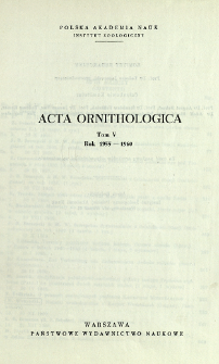 Acta Ornithologica ; t. 5 - Spis treści