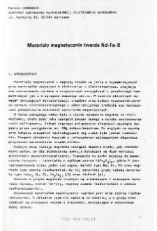 Materiały magnetyczne twarde Nd-Fe-B
