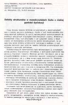 Defekty strukturalne w monokryształach GaAs o niskiej gęstości dyslokacji