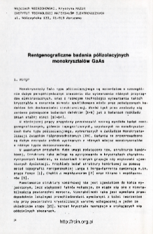 Rentgenograficzne badania półizolacyjnych monokryształów GaAs