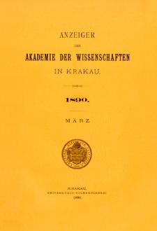 Anzeiger der Akademie der Wissenschaften in Krakau. Nr 3 März (1890)
