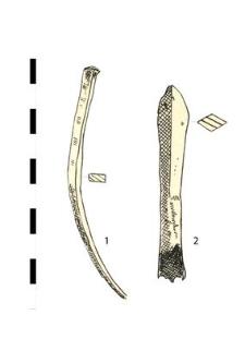 1. nail, iron 2. arrowhead, iron