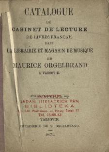 Catalogue du cabinet de lecture de livres français dans la librairie et magasin de musique de Maurice Orgelbrand à Varsovie