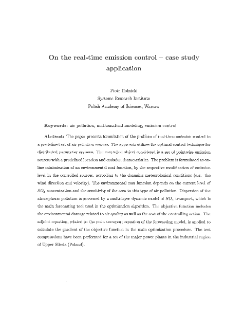 On the real-time emission control - case study application