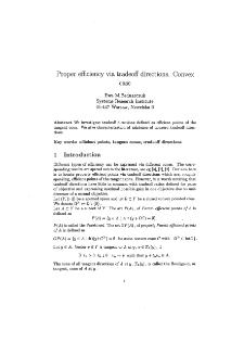 Proper Efficiency Via Tradeoff Directions.Convex Case