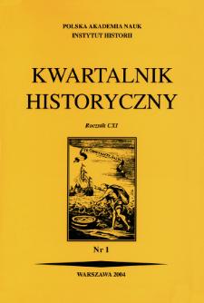 Kwartalnik Historyczny R. 111 nr 1 (2004), Artykuły recenzyjne
