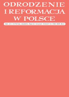 Odrodzenie i Reformacja w Polsce T. 63 (2019), Materiały