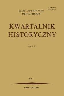 Kwartalnik Historyczny. R.100 nr 2 (1993), Artykuły recenzyjne