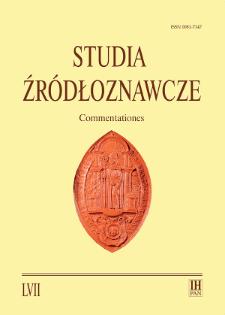 Studia Źródłoznawcze = Commentationes T. 57 (2019), Materiały