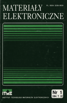 Materiały Elektroniczne 1994 T.22 nr 1