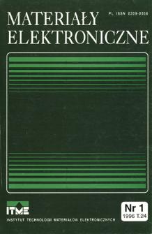 Materiały Elektroniczne 1996 T.24 nr 1