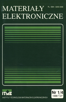 Materiały Elektroniczne 1999 T.27 nr 1/4