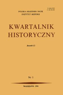 Kwartalnik Historyczny R. 101 nr 1 (1994), Artykuły recenzyjne